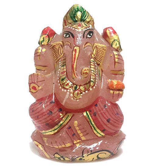 Divine Soul Retreat Rose Quartz Ganesha Statue Fine Work Elephant God Stone Gold