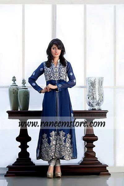 Threads and Motif Party Wear dresses online, Party wear dresses by Pakistani designers UK $425.00 Shirt: Crinkle chiffon long shirt in Sapphire color features stunning embellishment with embroidery work all over bodice and hemline border. Full lenght sleeves with embroidered motiifs all over. Coll