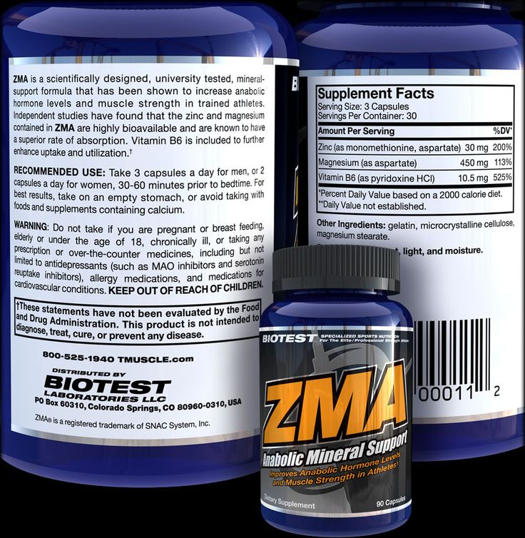 ZMA Supplement Facts