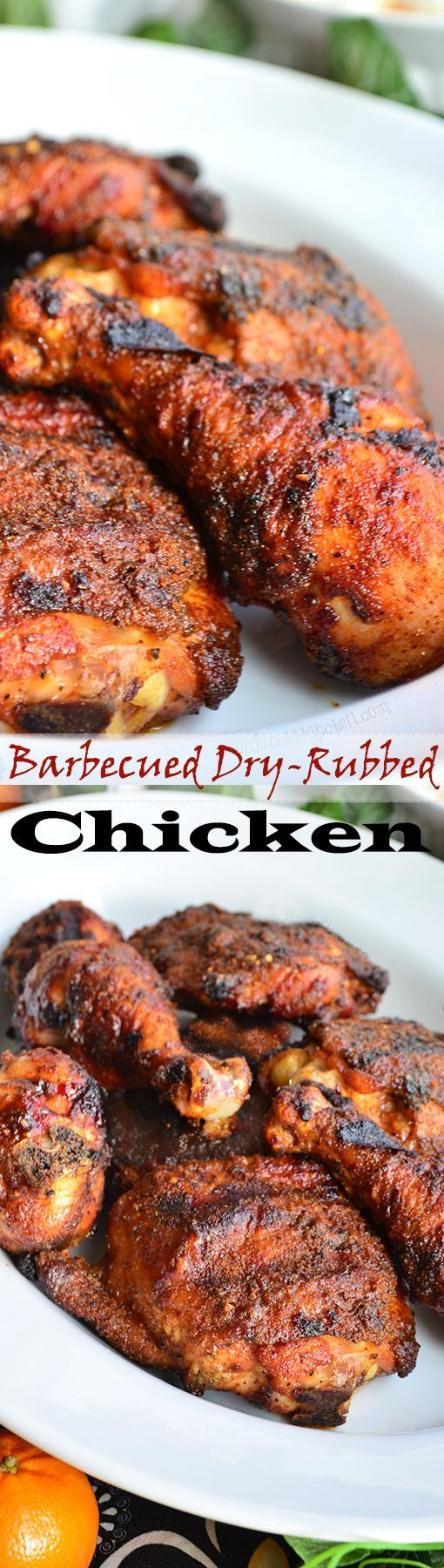 This Barbecued Dry-Rubbed Chicken recipe seasons the meat with a rub that ends up melting as the chicken cooks and turning into an incredibly savory glaze. Great Barbeque dinner.