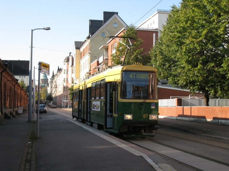 Tram 4T in Helsinki, Finland taking us to the Eurohostel.