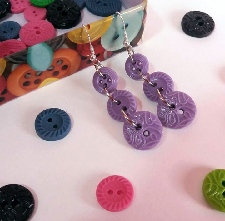 Orecchini con bottoni viola, by Katia Kreazioni, 6,00 € su misshobby.com