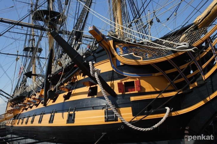 HMS Victory is located in the dockyards in Portsmouth. Well worth a visit, really interesting!