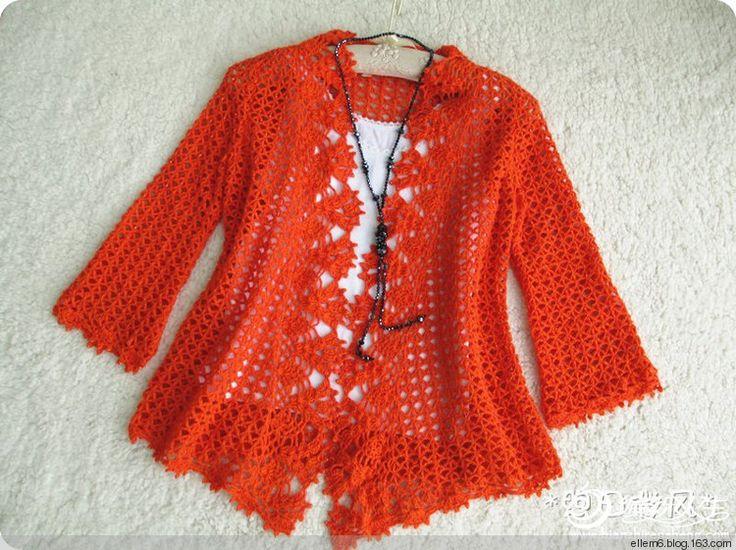 Cardigan de color naranja elegante - ellem6 - tejer tejidos incansable