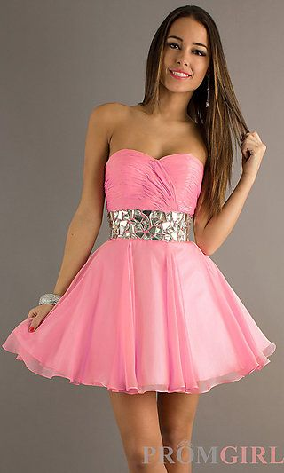 """Strapless Short Prom Dress by Alyce Paris at PromGirl.com ***great reviews, """"even prettier in person""""***"""