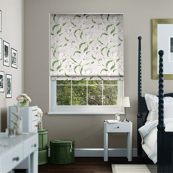Dancing Tulips Cream Roman Blind