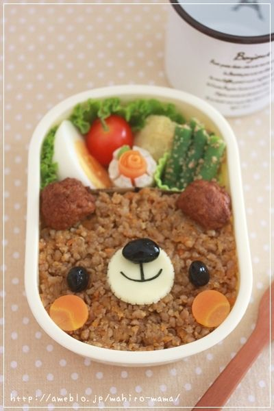 Cute Soboro Meat Bear Kyaraben Bento Lunch (Soya-Seasoned Minced Meat over Rice)