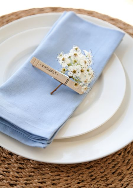 Clothespin as place setting  boxwood clippings_clothes pegs placesetting
