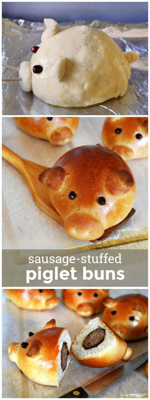 Sausage Stuffed Piglet Buns -- these cute lil' sausage-stuffed buns are super fun to bake and eat! girlversusdough.com @girlversusdough