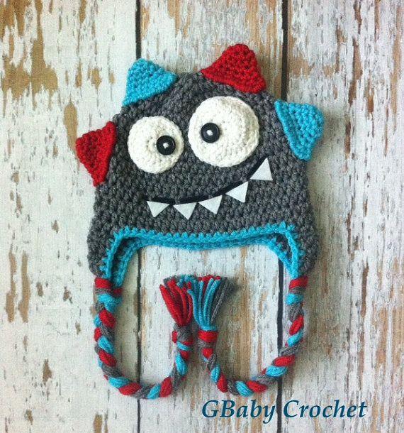 Crochet baby monster hat grey 0-5T on Etsy, $25.00