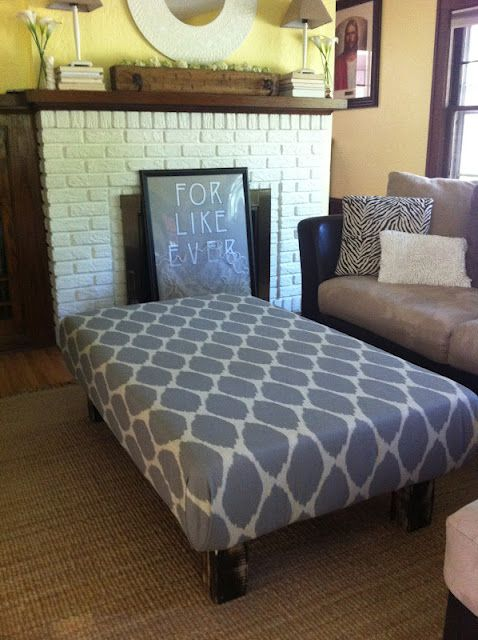 DIY ottoman from coffee table- looks super easy, i want to do this sooo bad
