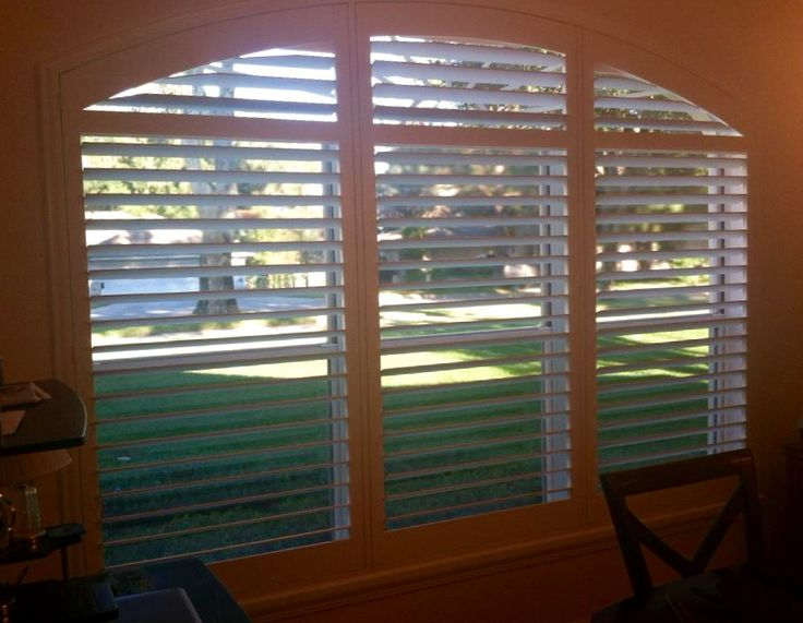 Gorgeous Wide Panel Plantation Shutters with a curve top, designer sill cap and…