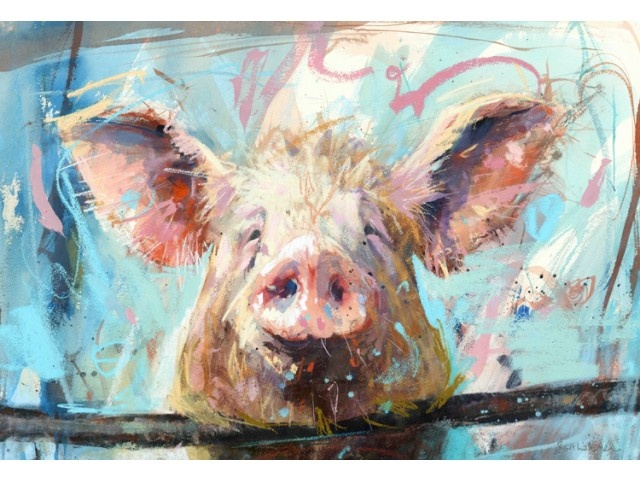 ♞ Artful Animals ♞  bird, dog, cat, fish, bunny and animal paintings - Pig - James Bartholomew