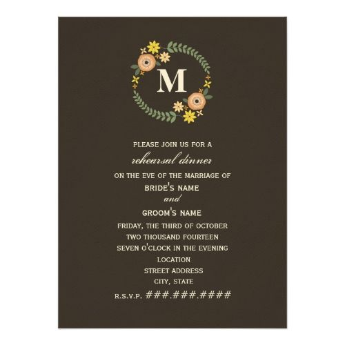 Floral Wreath Monogram Fall Rehearsal Dinner Card