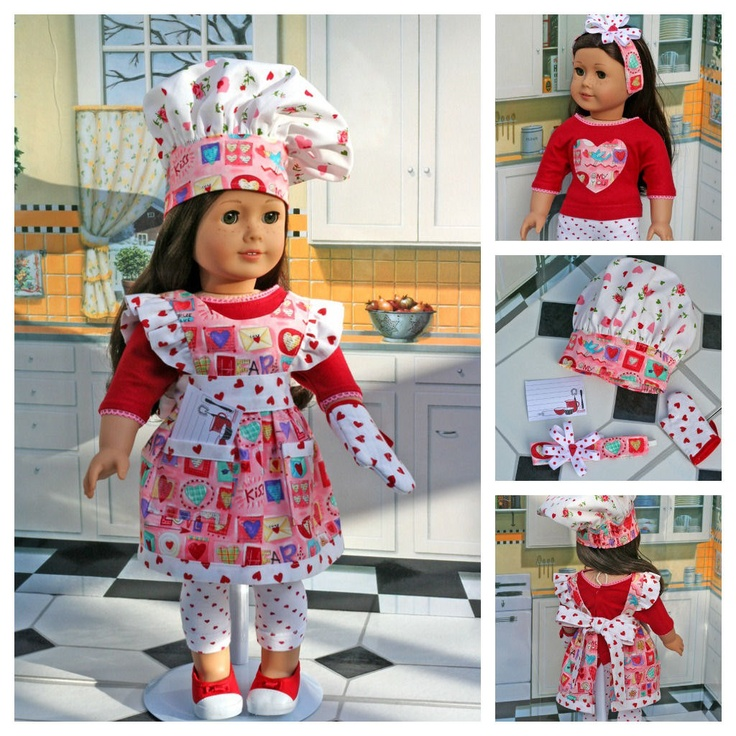 American Girl Doll . I Heart You Valentine . Pinafore Apron . T-Shirt . Leggings . Oven Mitt . Chef Hat . HeadBand . Recipe Card. $40.00, via Etsy.