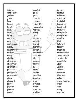page 2 - A list of 174 different Character Traits so students can look at the list while describing characters. This also helps students get to know and understand different character traits.  Thank you Mrs. R.