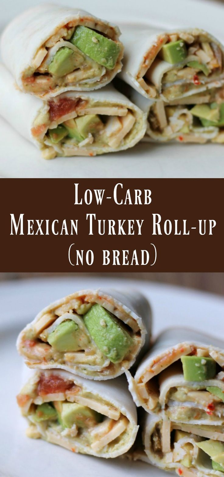 Low-carb mexican turkey roll-up (no bread) lunch or snack recipe.