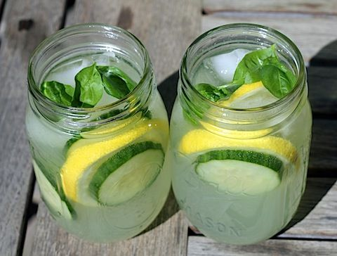 Cucumber Lemonade with Basil. Great summer drink!