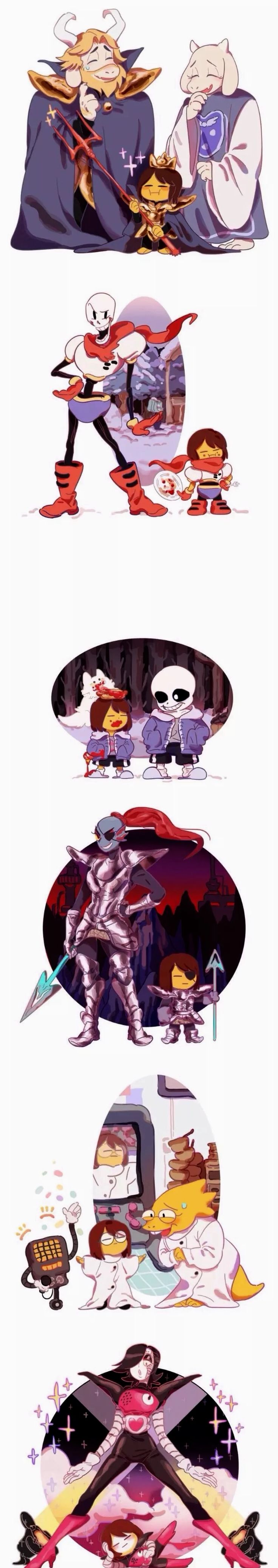 Frisk wearing the outfits and costumes of Asgore/Toriel, Papyrus, Sans, Undyne, Alphys, and Mettaton