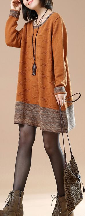 Fine Orange jacquard sweaters cozy knit top
