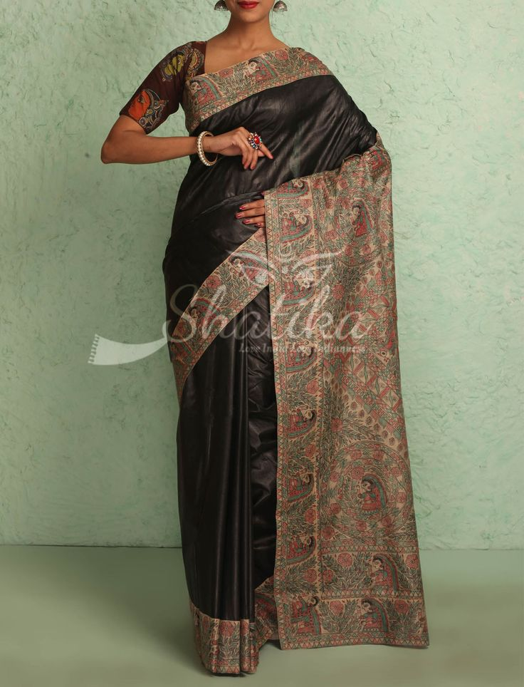 Maitrayi Plain Jet Black With Intricate Handpainted Border Pallu Madhubani Silk Saree