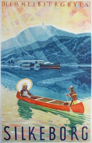 Silkeborg Denmark, 1920s - original vintage poster by Henrick Hansen - Himmelbjergbyen / Sky Mountain or Mountain of Heaven - listed on AntikBar.co.uk