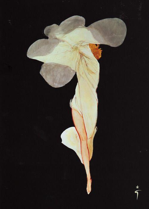 Rene Gruau, Flower Woman, c. early 20th century. @Deidra Brocké Wallace