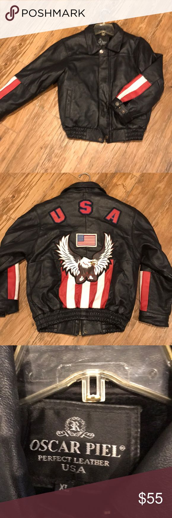 Boys leather jacket!! Xl genuine leather boys jacket!  Great condition, barely worn!  Zipper pull is missing and replaced by a paper clip to pull up and down! oscar piel Jackets & Coats