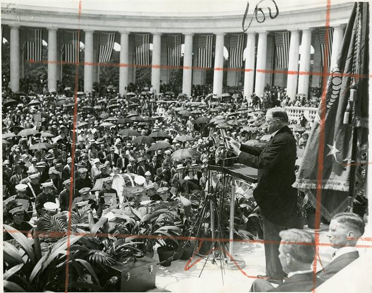 Herbert Hoover pledging renewed efforts for world peace in a Memorial Day address at the Arlington National Cemetery, May 31, 1929.