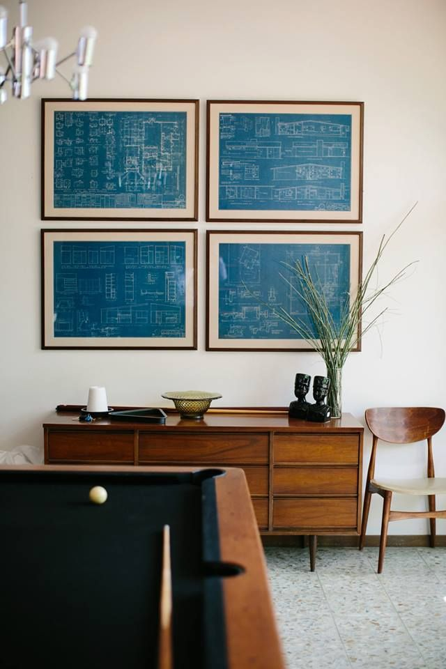 The blueprints of the house framed as wall art. Awesome.