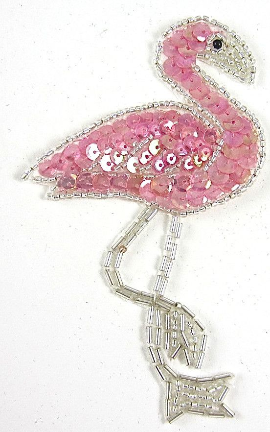 "Flamingo with Pink Sequins and Silver Beads 4.5"" x 2.5"""