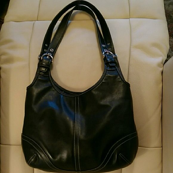 Black Coach Hobo bag Black  authentic Coach handbag with white top-stitching. It is in near perfect condition and very clean Coach Bags Shoulder Bags