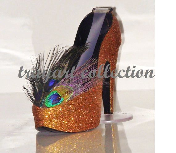 PEACOCK Bronze / Copper High Heel Shoe TAPE DISPENSER Stiletto Platform   Office  Supplies   Trayart