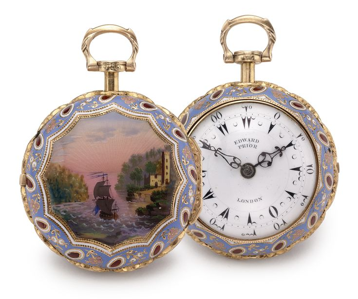 Edward Prior, London A FINE 18K YELLOW GOLD AND ENAMEL PAIR CASED VERGE WATCH MADE FOR THE TURKISH MARKET CIRCA 1813