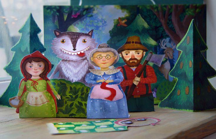Finger puppets, Little Red Riding Hood, paper toy, paper theatre, craft for kids, digital download,printable kids gift, granny, illustration, kids book illustration, illustration for kids, printable for kids by MyWonderWonder on Etsy