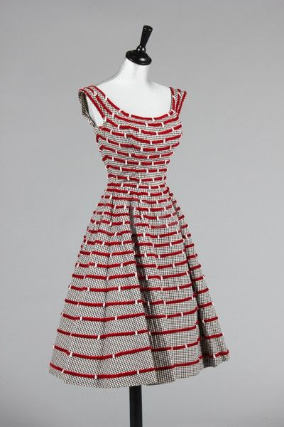 1950's Ceil Chapman Ribbon with Beads Dress