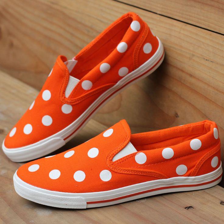 Womens Orange Polka Dots Canvas Flat Shoes- Casual and super comfy