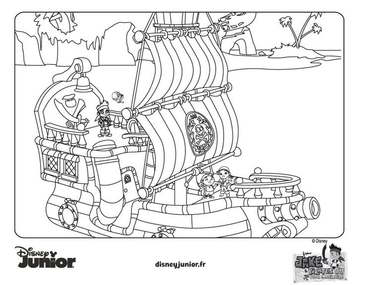 Coloriage de jake jake et les pirates du pays imaginaire disney liste magique de noel - Jack le pirate dessin ...