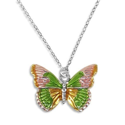 Butterfly Necklace Pink Yellow and Green Sterling Silver with Chain AzureBella Jewelry. $26.22. .925 sterling silver. Jewelry gift box included. Nicely detailed and colored. Includes 18-inch chain