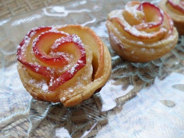 Mini Roses feuilletées aux pommes et noisettes