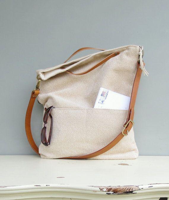 Modern Messenger Bag Buttercream by MondayMorningStudios on Etsy