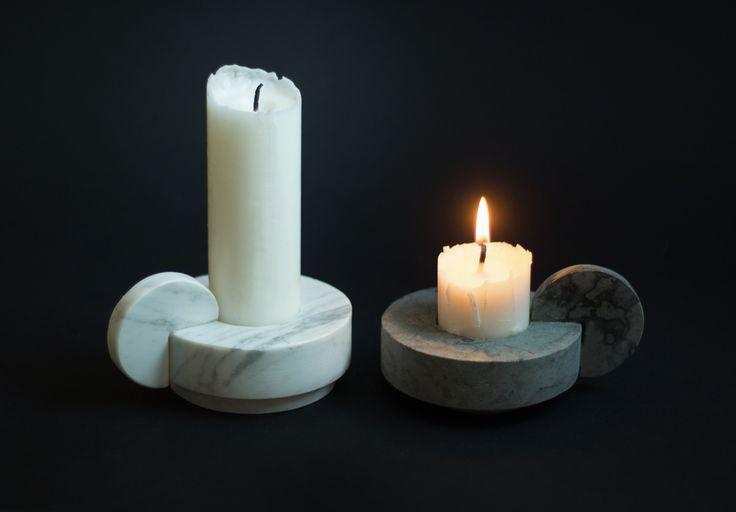 Candle Sticks – White Carrara Marble or Grey Swedish Limestone.