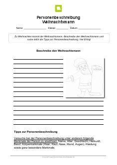 Kostenloses Arbeitsblatt: Personenbeschreibung Weihnachtsmann