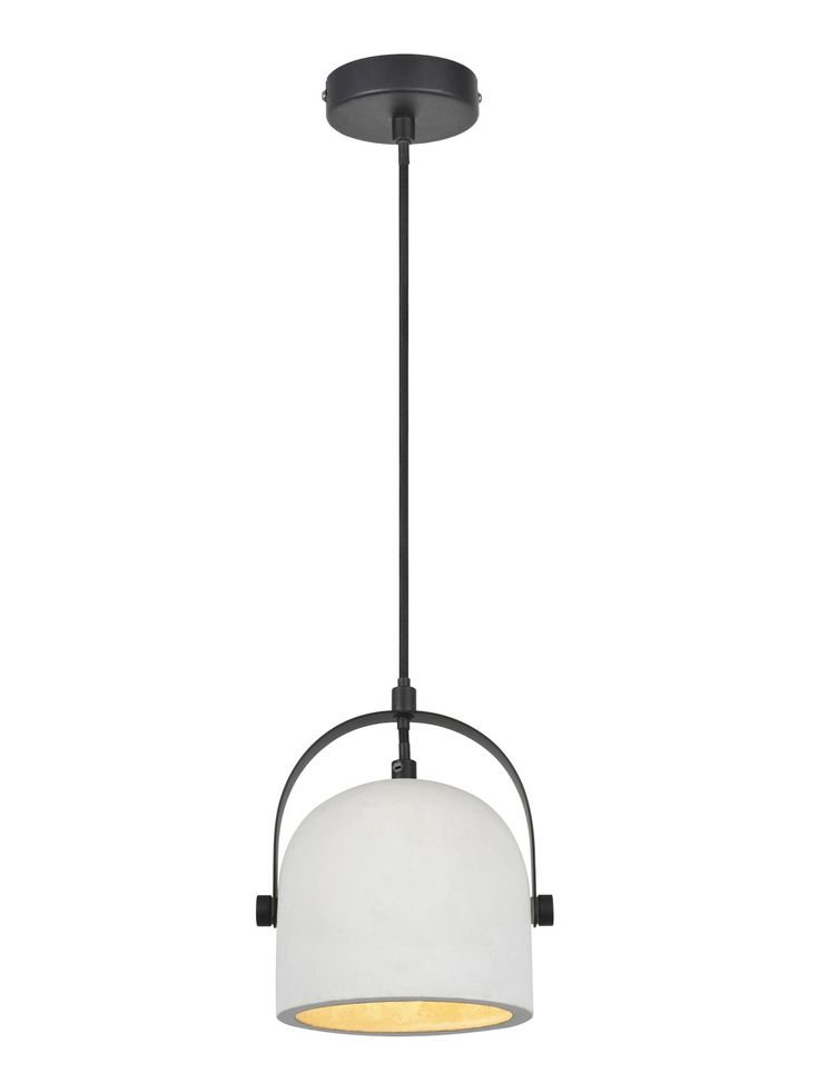 Finn 1 Light Pendant in White Concrete