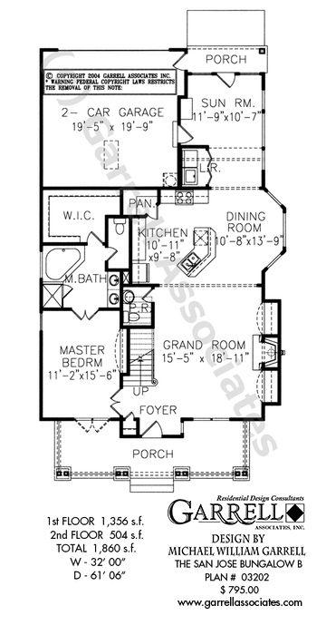 San Jose Bungalow B House Plan | House Plans by Garrell Associates ...