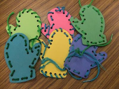 Cachey Mama's Classroom: Lacing Mittens Fine Motor Activity