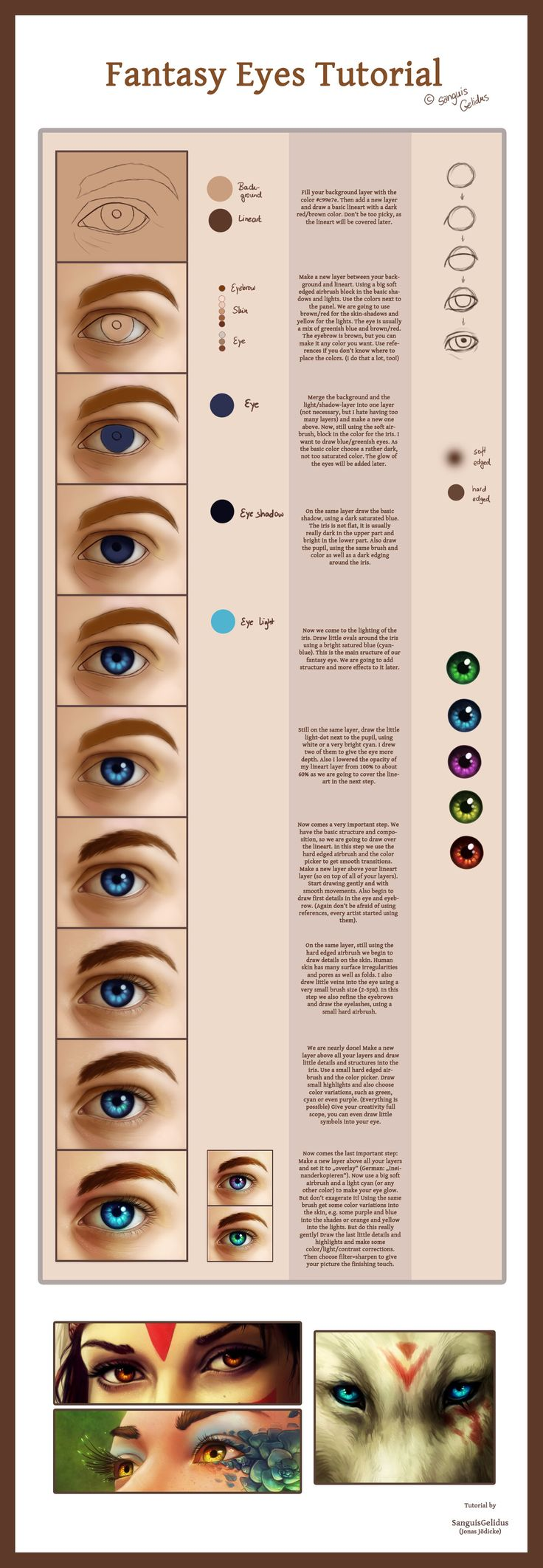This incredible Fantasy Eyes Tutorial is done by sanguisGelidus.deviantart.com on @deviantART. I've been wanting to try out digital art, and for those like myself here's a starter!
