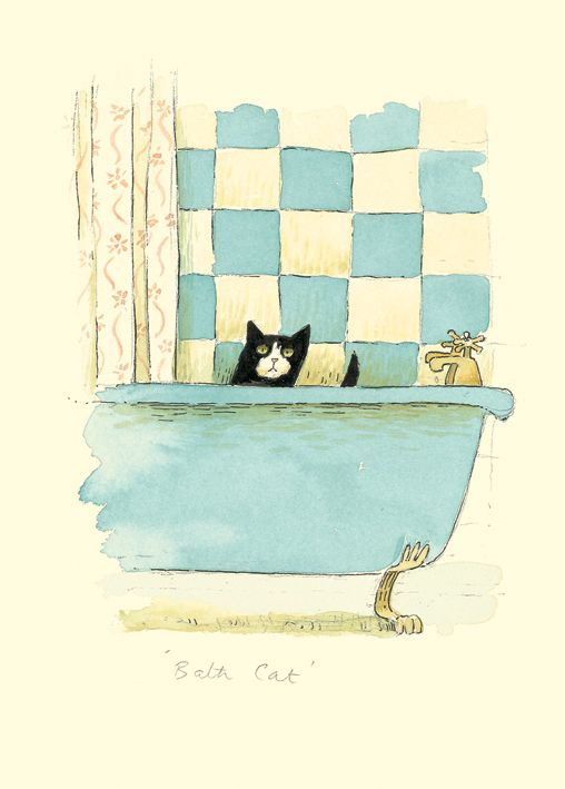 IA22 CAT BATH by Alison Friend - A Two Bad Mice Greeting Card
