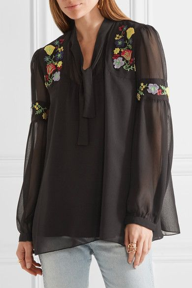 Anna Sui - Garden Embroidered Georgette Blouse - Black - x small