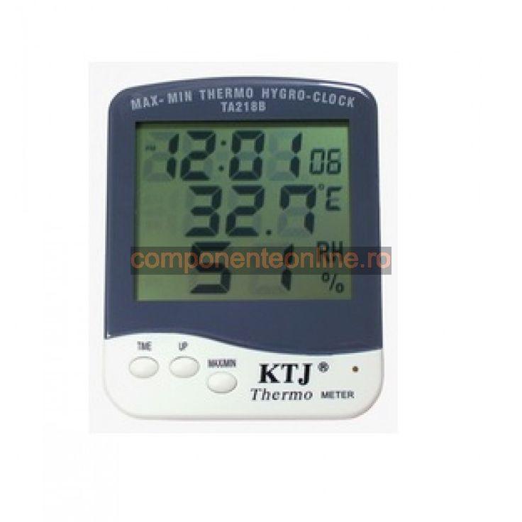 Termometru, ceas si higrometru, cu afisaj LCD - 110944